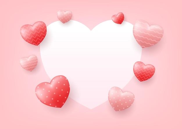Romantyczna dekoracja ramki z sercami na walentynki.