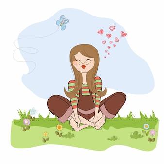 Romantyczna dziewczyna w miłości siedzieć boso w trawie