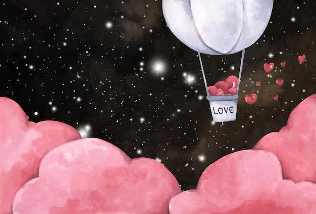 Romantyczna ilustracja. balon na ogrzane powietrze z sercem lecącym na nocnym niebie. ilustracja miłości i walentynki. akwarela ilustracja.