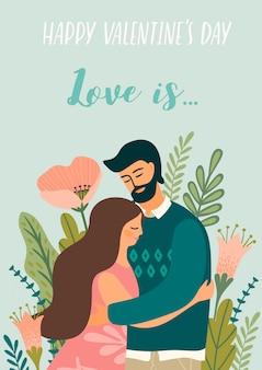 Romantyczna ilustracja z mężczyzną i kobietą. miłość, historia miłosna, związek.