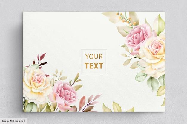 Romantyczna karta kwiatowy akwarela