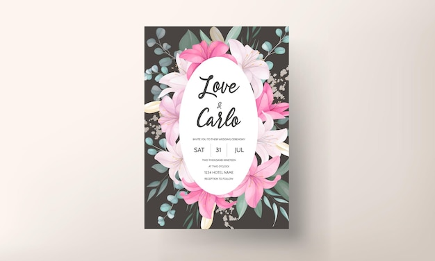 Romantyczna karta zaproszenie na ślub z pięknymi kwiatami lilii i liśćmi