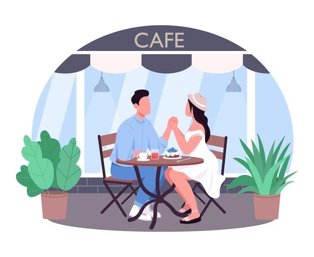Romantyczna kolacja, baner sieciowy 2d, plakat. mężczyzna i kobieta trzymają się za ręce w kawiarni. para w kawiarni płaskie postaci na tle kreskówki. naszywka do wydrukowania z datą restauracji, kolorowy element sieciowy