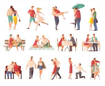 Romantyczna kolacja randki pary płaski na białym tle kolekcja znaków z miłośników całuje się na spacer dając prezenty