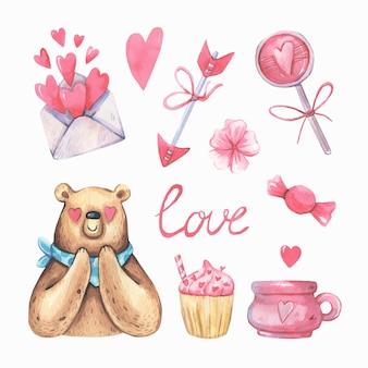 Romantyczna kolekcja akwarela z niedźwiedziem.