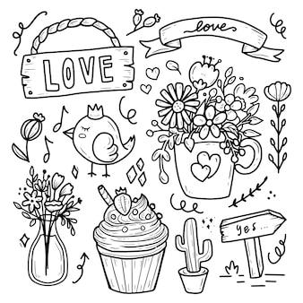 Romantyczna kolekcja vintage kwiat i ptak doodle