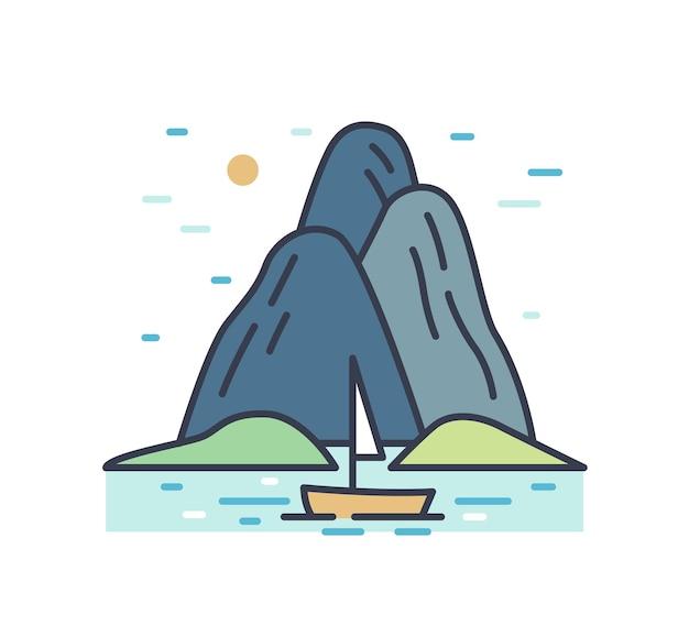 Romantyczna kolorowa sceneria z wycieczką łodzią po morzu w pobliżu gór lub wzgórz. malowniczy zarys letniego krajobrazu morskiego. proste wektor ilustracja linia na białym tle.
