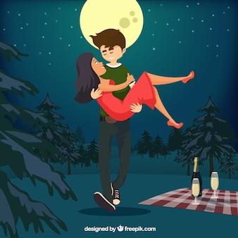 Romantyczna para ilustracja