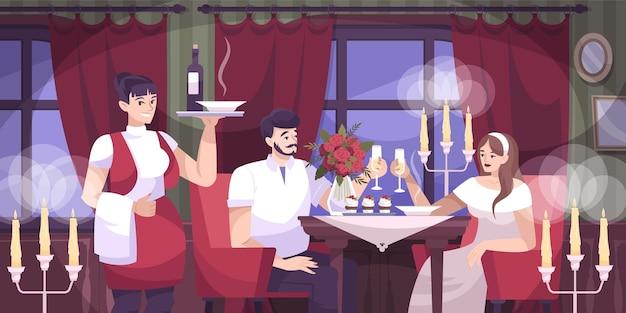 Romantyczna para kawiarni płaska kompozycja z romantyczną randką dla pary w restauracji
