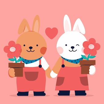 Romantyczna para kochających królików z kwiatami