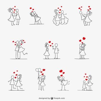Romantyczna para kolekcja stickman