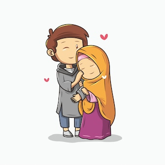Romantyczna para muzułmańska