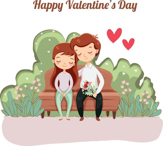Romantyczna para na kartkę z życzeniami valentine
