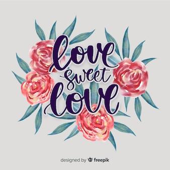 Romantyczna / pozytywna wiadomość z kwiatami