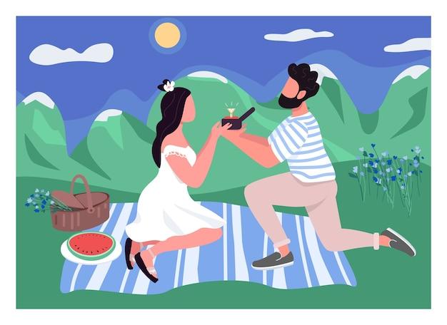 Romantyczna propozycja w jednolitym kolorze. mężczyzna z pierścionkiem z brylantem. kobieta na pikniku z chłopakiem. związek miłosny. zaangażowana para postaci z kreskówek 2d z krajobrazem w tle