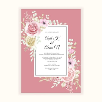 Romantyczna ramka kwiatowa na zaproszenie na ślub