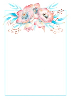 Romantyczna ramka z ciemiernikiem różowe kwiaty, pąki, liście, ozdobne gałązki na tle akwareli.