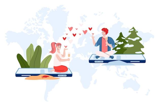 Romantyczna randka, miłosna, wirtualna relacja w internecie