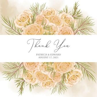 Romantyczna, ręcznie rysowana kwiatowa karta weselna z podziękowaniami