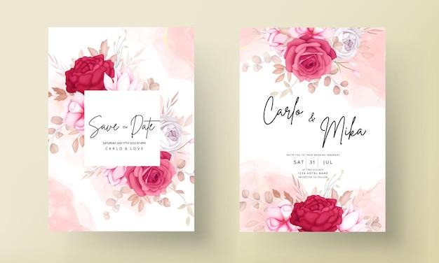 Romantyczna ręcznie rysowane bordowa kwiecista karta zaproszenie na ślub