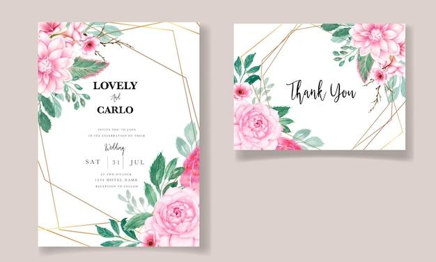 Romantyczna słodka akwarela różowa kwiatowa karta zaproszenie na ślub
