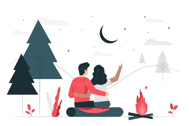 Romantyczna ucieczka ilustracja koncepcja