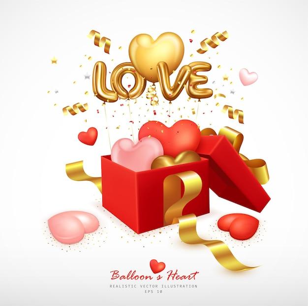 Romantyczne balony w kształcie serca i litery odbijają się od pudełka