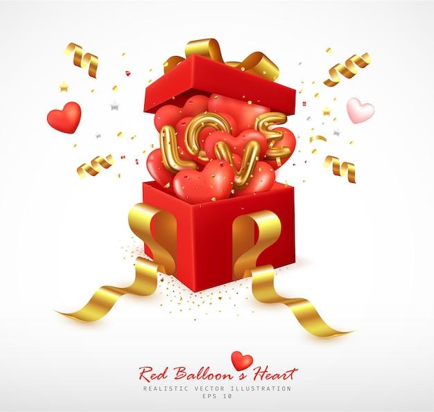 Romantyczne czerwone balony w kształcie serca i litery odbijają się od pudełka