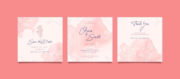 Romantyczne i słodkie kwadratowe zaproszenie na ślub na post w mediach społecznościowych