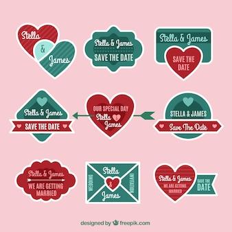 Romantyczne płaskie etykiety ślubne