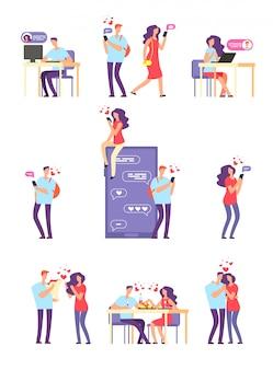 Romantyczne randki online. mężczyzna i kobieta, cute para za pomocą aplikacji mobilnej do rozmowy i miłości związku.