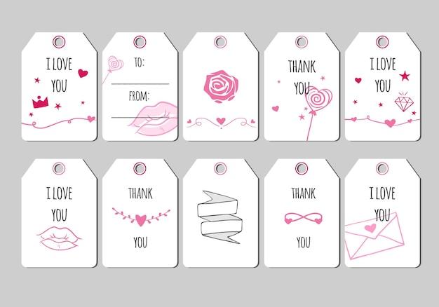 Romantyczne tagi prezentowe karty wektorowe i etykiety na walentynki śliczne romantyczne karty z różowymi sercami