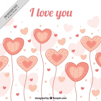 Romantyczne tło z balonów w kształcie serca