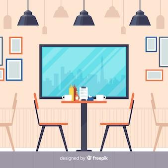 Romantyczne wnętrze restauracji o płaskiej konstrukcji