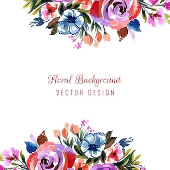 Romantyczne zaproszenie na ślub z kolorowymi kwiatami w tle karty