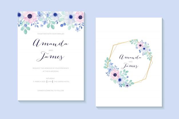 Romantyczne zaproszenie na ślub z pięknym bukietem anemon maku