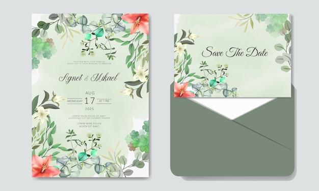 Romantyczne zaproszenie na ślub z pięknymi kwiatami