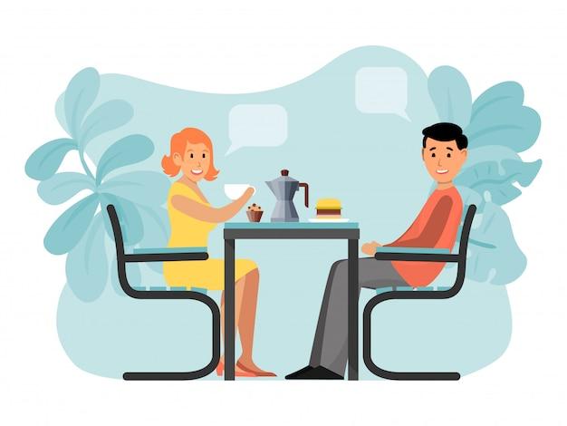 Romantycznej pary uroczy spotkanie, charakteru męski żeński siedzący kawowy dom odizolowywający na białym, ilustracja.