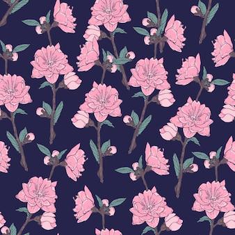 Romantyczny bezszwowy wzór z wspaniałymi kwitnącymi kwiatami ogrodowymi na ciemnym tle.