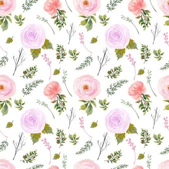 Romantyczny czerwony fioletowy rustykalny kwiatowy wzór bez szwu