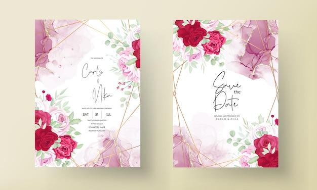 Romantyczny czerwony i różowy kwiatowy zaproszenie na ślub szablon z tłem atramentu alkoholowego
