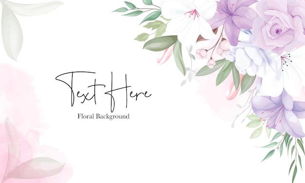 Romantyczny fioletowy kwiatowy szablon tła