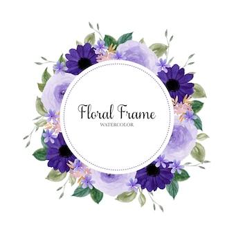 Romantyczny fioletowy wieniec kwiatowy akwarela