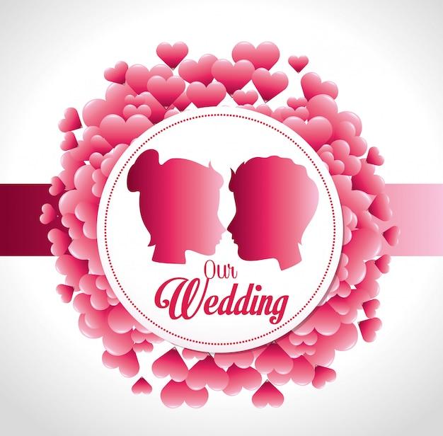 Romantyczny kolorowy karta projekt z różowymi sercami