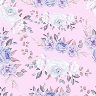 Romantyczny kwiat bez szwu z fioletową dekoracją kwiatową