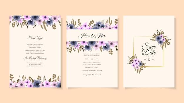 Romantyczny kwiatowy kwiaty ślub wesele zaproszenie szablon zaproszenia, zapisz datę
