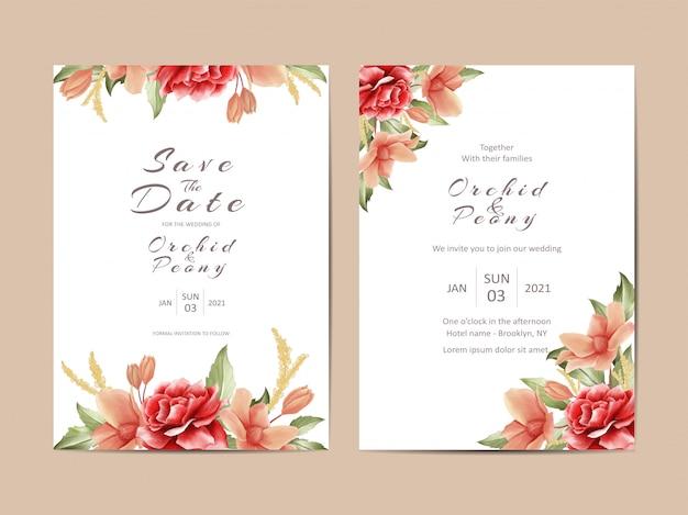 Romantyczny kwiatowy zaproszenie na ślub
