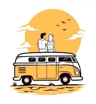 Romantyczny na ilustracji samochodu