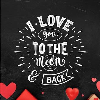 Romantyczny napis na walentynki