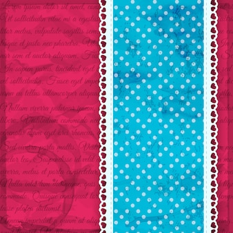 Romantyczny niebieski pasek z falbanami i kropkami na różowym ilustracji wektorowych